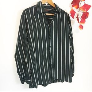 🍁Perry Ellis Striped Black Dress Shirt Size L🍁